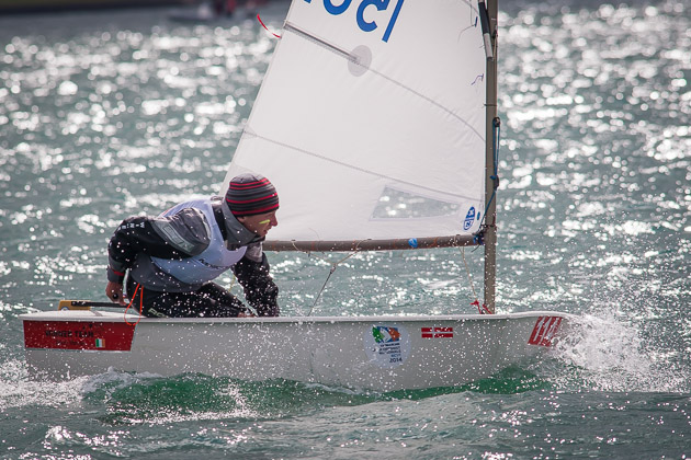 Harry Durcan sailing in the CH Marine Irish Optimist Championships 2014 at the Royal Cork Yacht Club. Pic Robert Bateman