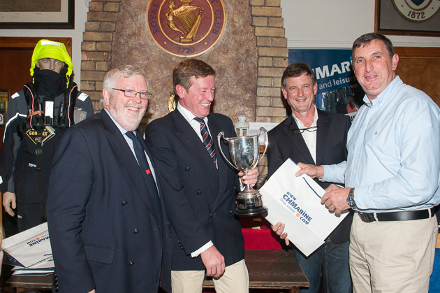 The Gibbons Trophy was presented by Paul Gibbons to Fergus Coughlan winner of Class 2. L. to R. Admiral Pat Lyons, Paul Gibbons, Nick Bendon CH Marine and Fergus Coughlan.
