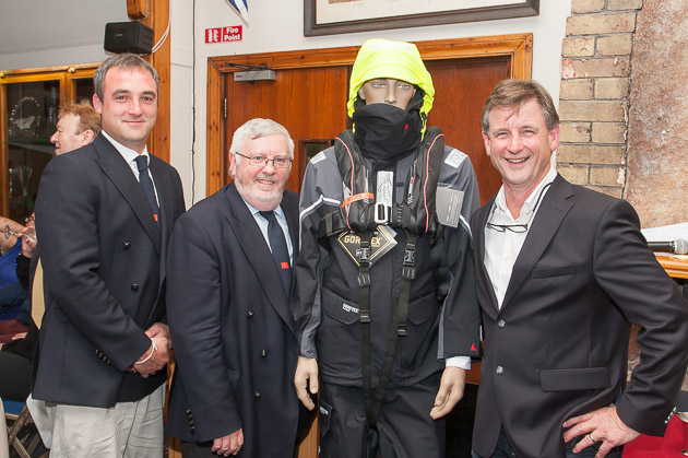 L. to R. Rear Admiral Keelbats Kierann O'Connell, Admiral Pat Lyons, model displaying new Crewsaver Lifejacket and Sponsor Nick Bendon of CH Marine.