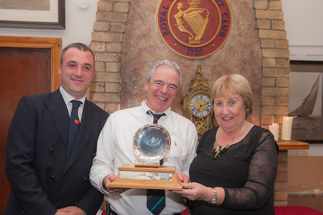 Bpat of the year winner Ian Nagle with Rear Admiral Keelboats Kieran O'Connell and Lady Admiral Ann Lyons. Pic Robert Bateman