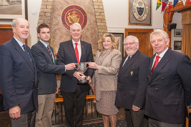 Picture shows L. to R. Cliff Hilliard, Robbie English, ICC Commodore John Killeen, April English, RCYC Admiral Pat Lyons and Dan Cross, ICC. Photo Robert Bateman