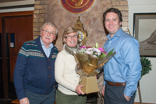Presentation to Jackie Kenefick on her retirement as Hon. Sec of SCORA.  L. to R. Michael Murphy, Hon. Treasurer, Jackie Kenefick and Ronaon Enright Commodore SCORA. Pic Robert Bateman