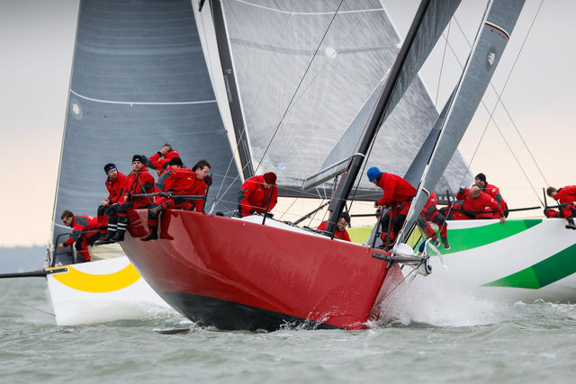 Anthony O'Leary and crew sailing 'Antix' during the RORC Easter Challenge 2015 yesterday (Sat) Pic Paul Wyeth