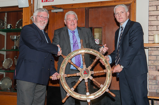 Pictured at the official handover of the Mitsubishi Trophy for Club of the Year Award 2014. L. to R. Admiral Pat Lyons, Frank Keane, Chairman, Mitsubishi Motors Ireland and Billy Riordan, CEO Mitsubishi Motors Irreland. Picture Robert Bateman.