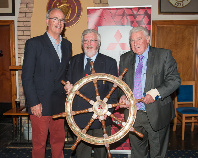 Special mention was made of the achievements of Anthony O'Leary who is pictured here with Admiral Pat Lyons and Frank Keane, Chairman, Mitsubishi Motors Ireland. Picture Robert Bateman