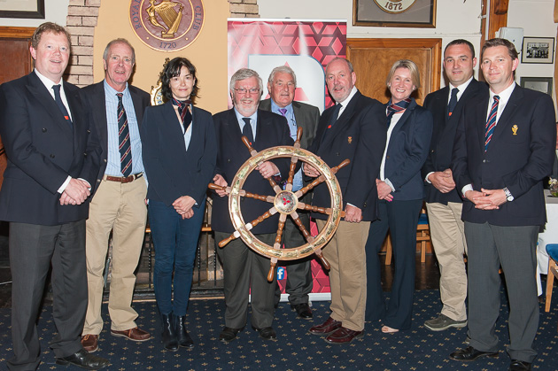 L. to R Cathal Conlon, Celine McGrath, Admiral Pat Lyons, Frank Kean, Chairman, Mitsubishi Motors Ireland, James O'Sullivan, Imelda D'Arcy, Kieran O'Connell and Gavin Deane, General Manager, Royal Cork Yacht Club. Picture Robert Bateman