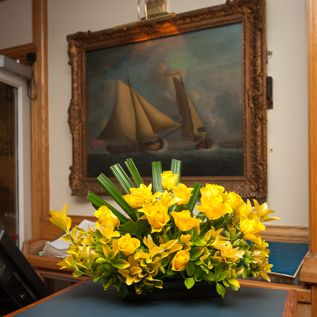 One of the many floral arrangements by the Lady Admiral and her ladies committee. Picture Robert Bateman