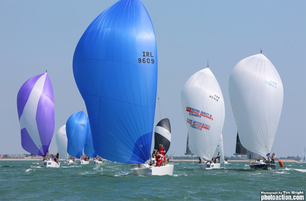 Ian  Nagle's 'Jelly Baby' leading the J109  fleet in Cowes today Photo Tim Wright Photo Action