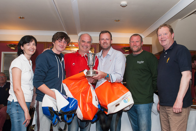 Colin Chapman takes the Ultra Cock O 'The North title. L. to R. Celine McGrath, Rear Admiral Dinghies, Aran Walsh, Morgan O'Sullivan, Colin Chapman, Willie Healy, National 18 Class Captain and RCYC Vie Admiral John Roche. Pic Robert Bateman.