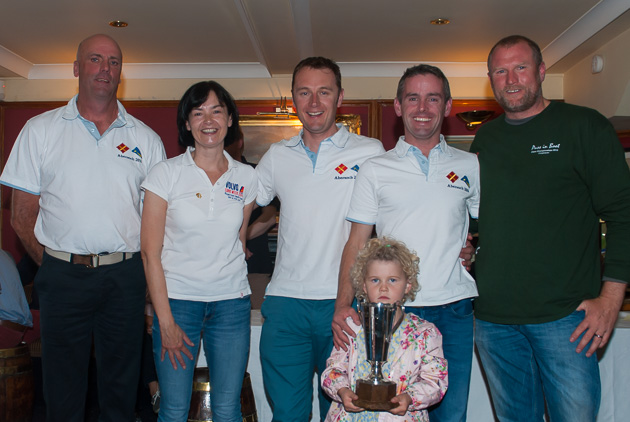 Cock O' The North Winners presentation: L to R Dion Barrett, Celine McGrath, Rear Admiral Dinghies, Stan Browne, Ewan Barry and Willie Healy, Class Captain National 18s. Pic Robert Bateman.