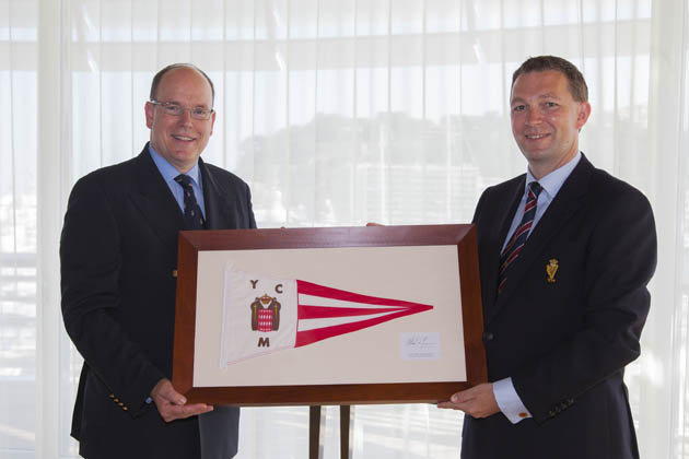 HSH Prince Albert II  presenting Gavin Deane with the Burgee of the YCM