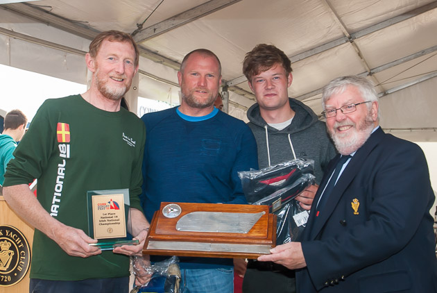 Tommy Dwyer with his winning crew and Royal Cork Admiral Pat Lyons. Pic Robert Bateman