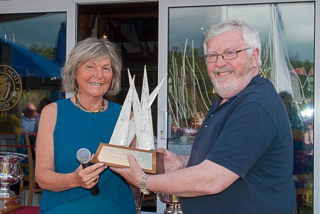 Mrs Brenda O'Donovan presenting the O' Donovan Family Trophy to Admiral Pat Lyons. Pic Robert Bateman