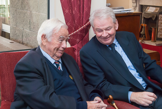 Former RCYC Admirals T.E.Crosbie and David O'Brien. Other former Admirals in attendance were Archie O'Leary, Bill Walsh, Tony O'Connor, Bill O'Mahony, Anthony O'Leary, Peter Crowley, Hugh Mockler and Paddy McGlade. Photo Robert Bateman