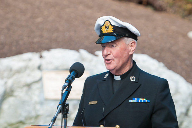 Naval Chaplain Fr. Des Campion. Photo Robert Bateman