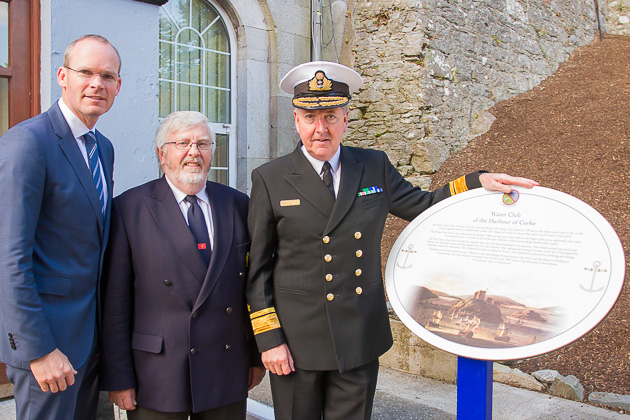 L. to R. Minister for Agriculture, Food, The Marine and Defence, Simon Coveney, RCYC Admiral Pat Lyons and Rear Admiral Mark Mellett DSM. Photo Robert Bateman