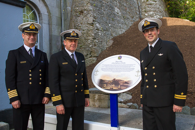 L. to R. Captain Michael Malone, Cdr. William Roberts and Lt. Jason O'Brien. Photo Robert Bateman