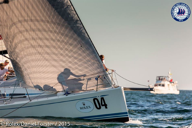 Contra jour shot of the BOW of Royal Cork 'Blazer' during racing yesterday. Picture Daniel Forster