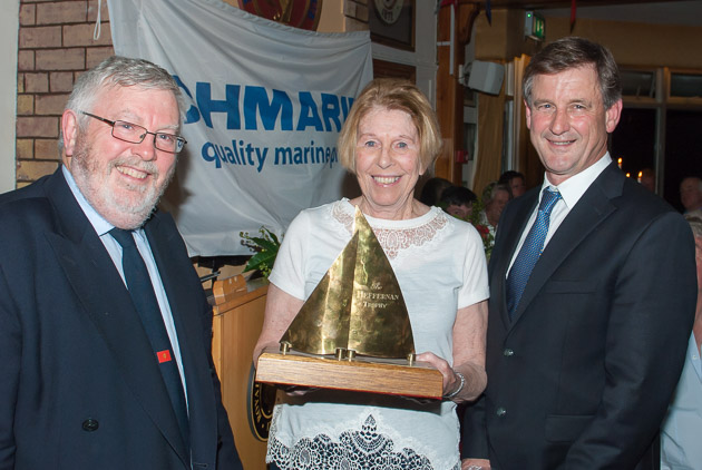 Mary O'Keeffe winner of Class One ECHO with Admiral Pat Lyons and Sponsor Nick Bendon. Picture Robert Bateman