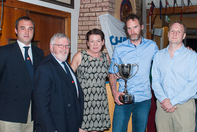 L to R Rear Admiral Keelboats Kieran O'Connell, Admiral Pat Lyons,Trophy Winners Sinead Enright and David Lane and Vincent O'Shea Jr. Picture Robert Bateman