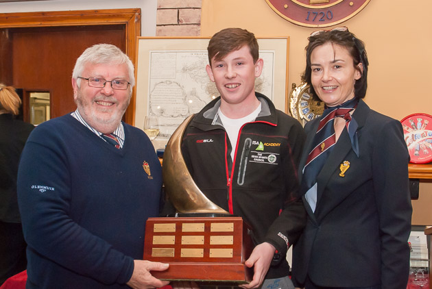 Admiral Pat Lyons presenting the Pyewacket Trophy won by Peter McCann and Harry Whitaker with Rear Admiral Dinghies, Celine McGrath. Photo Robert Bateman