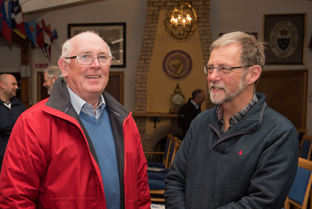 Pictured at the Skippers Club Meting last evening RCYC Vic e Admiral Captain Pat Farnan and Chairman of the Marina and Facilities Committee, Simon Brewitt. Picture Robert Bateman