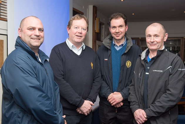 At the first Skippers Meeting of the 2016 season were L. to R. Leo Humston, CH Marine, RCYC Admiral John Roche, Rear Admiral Cruising, John O'Connor Howard Allen CH Marine who delivered the very interesting presentation. Picture Robert Bateman.