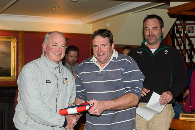Rob Bateman receiving the prize for best father and son combination Pic Robert Bateman