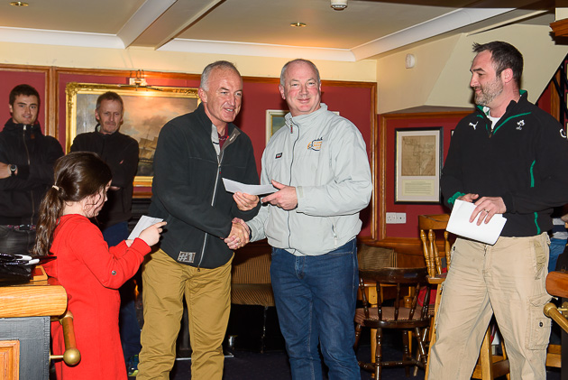 William Duane receiving his cheque from Rear Admiral Dinghies Stephen O'Shaughnessy. Pic Robert Bateman