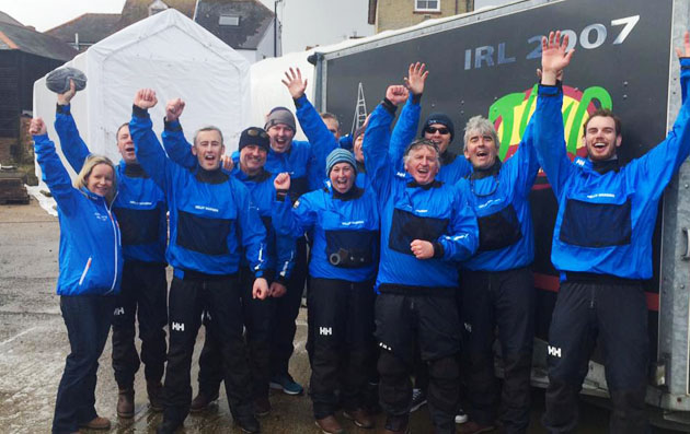 Conor Phelan with his jubilant crew at the RORC Red Funnel Easter Challenge.
