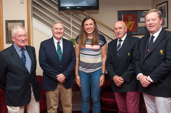 Present at the Candle lit Dinner were L to R Dom Long President National Class, Jack Roy ISA Board Member Annalise Murphy, Peter Crowley International Race Officer and John Roche Admiral Royal Cork Yacht Club.