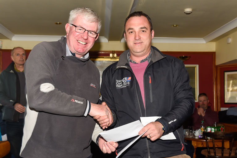 Denis Murphy receives his prize for winning IRC Overall at today's race