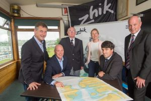 Nick Bendon of CH Marine, Paul O'Regan Harbour Master with Port of Cork, Vice Admiral RCYC Pat Farnan, Sarah McKeown of Port of Cork, Event Chairman Nicolas O'Leary, Rear Admiral Dinghies RCYC Stephen O'Shaughnessy.