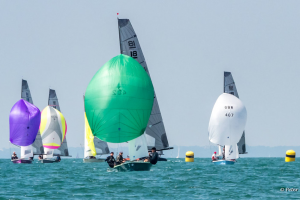 Skipper Tommy Dwyer leading in stunning conditions at Hayling Island SC. Pic Peter Hickson