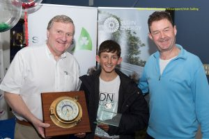 Trials winner 2018 Justin Lucas with Jack Roy, Irish Sailing President and  David Thomas, Managing Director of Volvo Car Ireland ¦ David Branigan/Oceansport/Irish Sailing