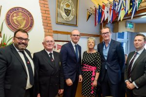 Colin Morehead, Vice Admiral, Pat Farnan, Admiral, An Tainiste Simon Coveney TD, Annamarie Fegan Chair Membership & Events, Patrick Coveney, Greencore CEO & Gavin Deane, General Manager