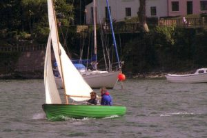 Joe and April English sailing their Rankin in 2006 (1)