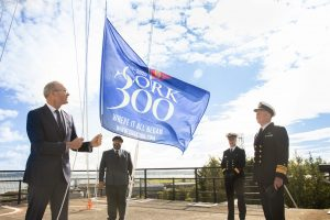 DKANE  29/08/2020 REPRO FREE Celebrating 300 Years: Minister of Foreign Affairs and of Defence Simon Coveney TD marked the Royal Cork Yacht Club's 300th birthday this weekend at a small ceremony on Haulbowline island, the Irish Naval Headquarters and home of the original 'Water Club of the harbour of Cork', as it was known back in 1720. The Royal Cork, which is the oldest sailing club in the world, rescheduled its Cork300 events series to celebrate its anniversary until July 2021. www.royalcork.com  Pictured here are Minister of Foreign Affairs and Minister of Defence Simon Coveney TD, Admiral of the Royal Cork Yacht Club Colin Morehead, Flag Officer Commanding Naval Service Commodore Michael Malone and Chief of Staff, Irish Defence Forces, Vice Admiral Mark Mellett. Picture Darragh Kane