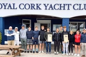 The Senior Teams and their management competing for the 77-year-old Book Trophy between Royal Cork YC and Sutton DC at Crosshaven at the weekend were (left to right) A. Green Bush (Cork Harbour SC), Ian McCormack (Commodore, SDC), Andy Johnston (SDC Team Manager & former Commodore), Olympian Robert Dickson, Shane McLoughlin, Conor Twohig, Peter Boyle & Alan Blay (all SDC), RCYC Team Chloe & Patrick Crosbie, Harry Prichard, Lola Kohl, Maeve O'Sullivan and Alex Barry